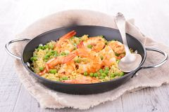Rice,pea and shrimps Stock Image
