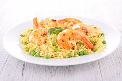 Rice,pea and shrimps Royalty Free Stock Photos
