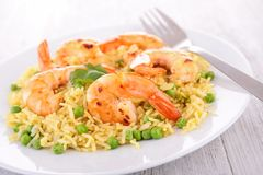 Rice,pea and shrimps stock photos