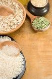 Rice, pea, spaghetti and oat in plate Stock Photo