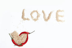 Rice pepper love Stock Photography