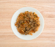 Rice peppers and beef chunks on a white plate Royalty Free Stock Images