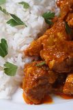 Rice and pieces of chicken in curry macro Stock Images