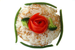 Rice pilaf. Green beans, and broccoli Stock Photography