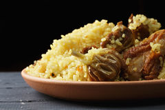 Rice pilaf with lamb in darkness closeup Royalty Free Stock Image