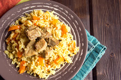 Rice pilaf with lamb meat Royalty Free Stock Photography