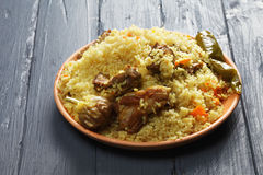 Rice pilaf with lamb Stock Photo