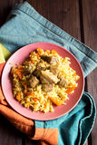 Rice pilaf with meat Stock Image