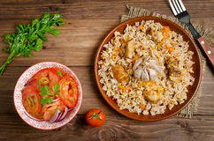 Rice pilaf with meat and vegetables Royalty Free Stock Images