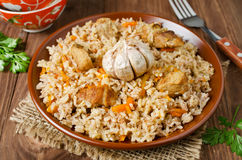 Rice pilaf with meat and vegetables Royalty Free Stock Photography