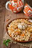 Rice pilaf with meat and vegetables Stock Images