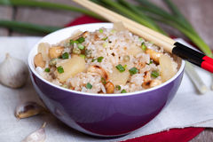 Rice with pineapple and cashews. In a plate Stock Photography