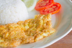 Rice with plain omelet Stock Photo