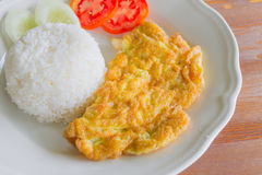 Rice with plain omelet. Thai food Royalty Free Stock Image