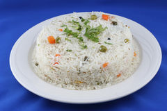 Rice plate. Steamy, fresh and tasty rice stock photography
