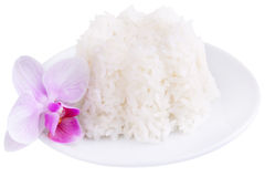 Rice on a plate, clipping path Stock Photo
