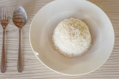 Rice in a Plate Fork and Spoon stock photography