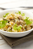 Rice with pork. Carrots and spinach Royalty Free Stock Photo