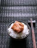 Rice and pork on black floor Stock Image