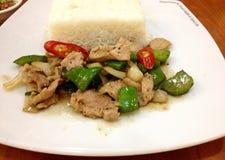 Rice with pork Stock Photo