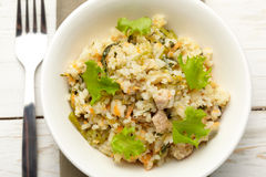 Rice with pork, carrots and spinach Royalty Free Stock Images