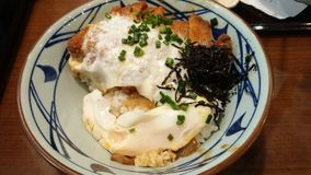 Rice with pork, egg, seaweed. Japanese yummy menu, enjoy eating with it now Stock Image