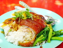 Rice with pork leg. Royalty Free Stock Photos