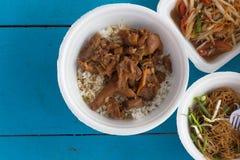 Rice with pork leg and papaya salad Stock Images