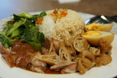 Rice with pork leg sauce. Stock Images