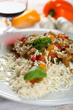 Rice with pork and vegetables Royalty Free Stock Image