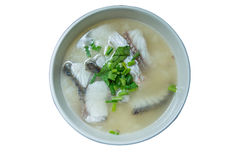 Rice porridge with fish. Isolated on white background Royalty Free Stock Photo