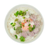 Rice porridge with pork meat ball,clipping path Royalty Free Stock Image