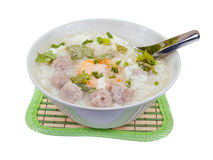 Rice porridge with pork meat ball, clipping path Royalty Free Stock Image