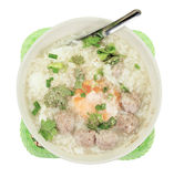 Rice porridge with pork meat ball,clipping path Royalty Free Stock Photo