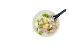 Rice porridge with pork meat ball,clipping path Stock Photography