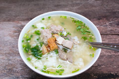 Rice porridge with pork. Royalty Free Stock Image