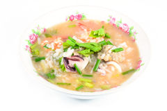 Rice porridge with pork,shrimp and squid' ,thai breakfast Stock Images