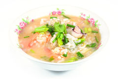 Rice porridge with pork,shrimp and squid' ,thai breakfast Stock Image