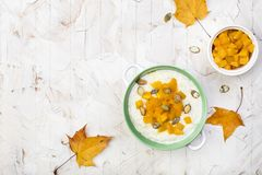 Rice porridge with pumpkin Stock Images
