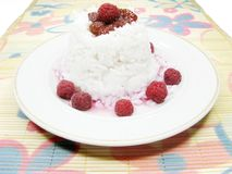 Rice porridge with raspberry Royalty Free Stock Photo