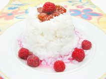 Rice porridge with raspberry jam Stock Images