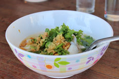 Rice porridge with seafood Stock Images