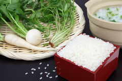 Rice porridge with the seven herbs,Japanese food Stock Photo