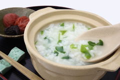 Rice porridge with the seven herbs with salted plum,Japanese food Stock Image