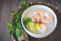 Rice porridge with shrimp and egg,vintage tone, Thai Food, Thai Royalty Free Stock Image