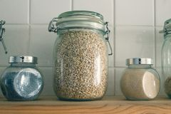 The rice in the pot on the background tiles. Side view, Mac.  Stock Images