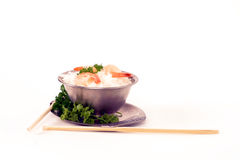 Rice and prawns 4. A dish of rice and prawns with chop sticks Stock Images