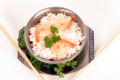 Rice and prawns 5. Rice and prawns and chop sticks on a white background Stock Photos