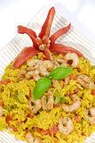 Rice with prawns stock image