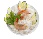 Rice with prawns and zucchini. On white background Stock Photography